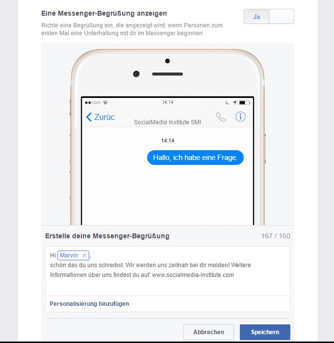 FB-Messenger-Begrüßung