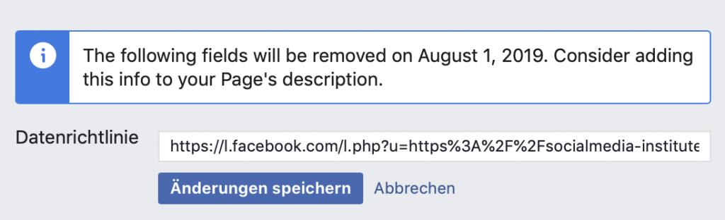 facebook-seiten felder